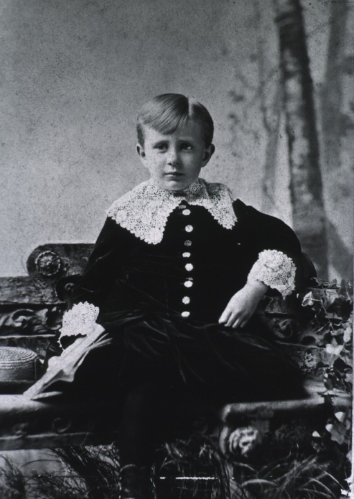 <p>Full length, seated, full face; wearing velvet suit with lace collar and cuffs; at age 4.</p>