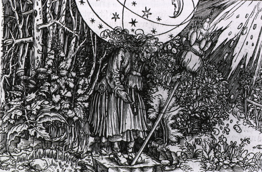 <p>An old woman, standing in a wooded area, is holding a spindle in her right hand and an upright broom with several spindles in her left; she appears to be burdened with the weight of a sphere containing stars and the moon resting on her shoulders.</p>