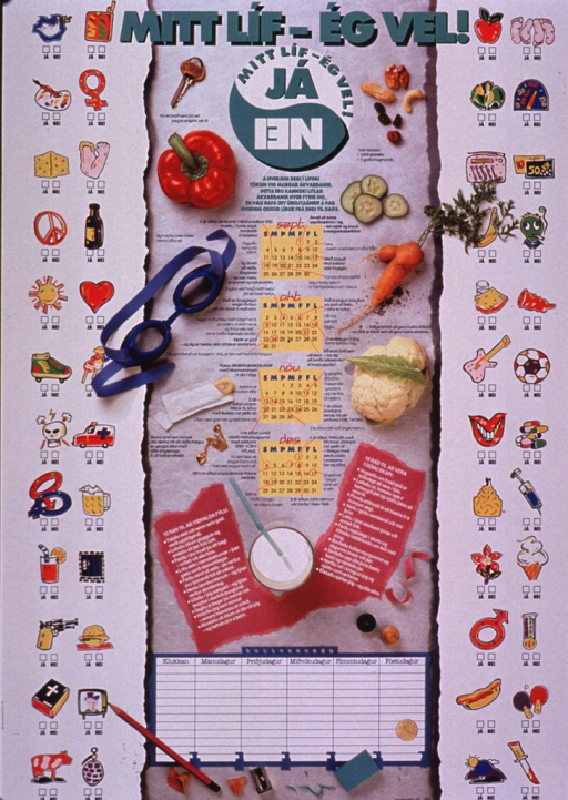 <p>Predominantly white poster with multicolor lettering.  Title at top of poster.  Visual images include illustrations and color photo reproductions representing foods, exercise, hobbies, sexual behavior, violence, peace, and emotions.  The illustrations have check boxes for &quot;yes&quot; and &quot;no&quot; below them, as if one is to select what to do.  Calendars for Sept.-Dec. in center of poster, below title.  Lists of ways to improve health and mood below calendars.  Publisher information at bottom of poster.</p>