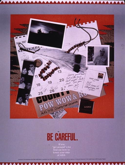 <p>Predominantly gray poster with multicolor lettering.  Visual image is a collage featuring photos, a calendar with many engagements listed, posters and ticket stubs from different events, and some feathers and beads.  Title and note below collage.  Publisher and sponsor information at bottom of poster.</p>