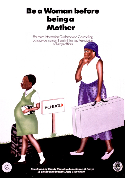 <p>Multicolor poster with black lettering.  Title at top of poster.  Visual image is an illustration of a pregnant schoolgirl walking away from school.  She carries her books and tears stream down her face.  Her mother walks behind carrying a suitcase and looking thoughtful.  Publisher information and logos at bottom of poster.</p>