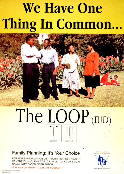 <p>Predominantly yellow poster with black and red lettering.  Initial title phrase at top of poster.  Visual image is a reproduction of a color photo showing two men, two women, and two children in front of a flower bed.  The adults stand and the children sit on the ground.  Remaining title text below photo.  Illustrations of two types of IUD appear below title text.  Caption and note below illustrations.  Publisher information at bottom of poster.</p>