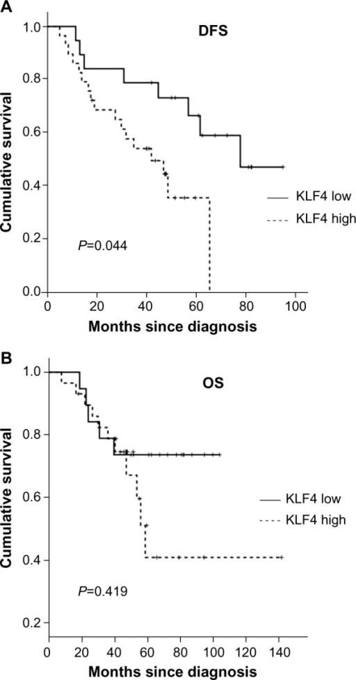 Prognostic disease-free survival and overall survival analyses for locally advanced breast cancer patients who received neoadjuvant chemotherapy according to KLF4 expression.Notes: (A) Disease-free survival (DFS). (B) Overall survival (OS).