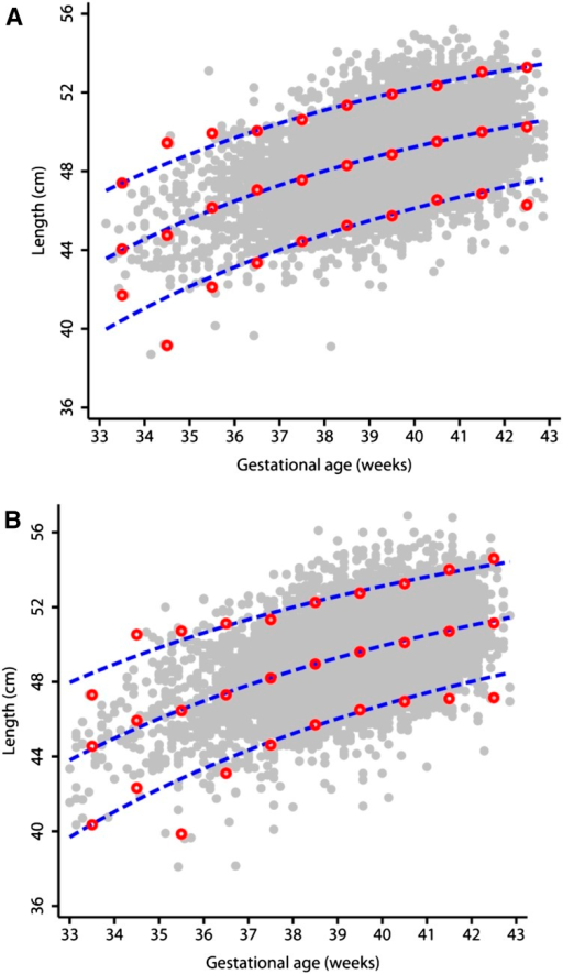Fitted 3rd, 50th, and 97th smoothed percentile curves (dashed blue lines) for BL according to gestational age showing empirical values for each week of gestation (open red circles) and the actual observations (closed gray circles). (A) Girls; (B) boys. BL, birth length. Reproduced from reference 2 with permission.