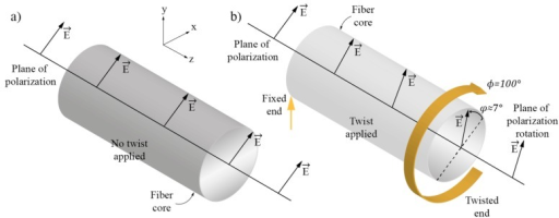 (a) Polarization plane and fiber direction when fiber is not twisted and (b) When fiber is twisted through 100°, the polarization plane is rotated through 7° in the opposite direction.