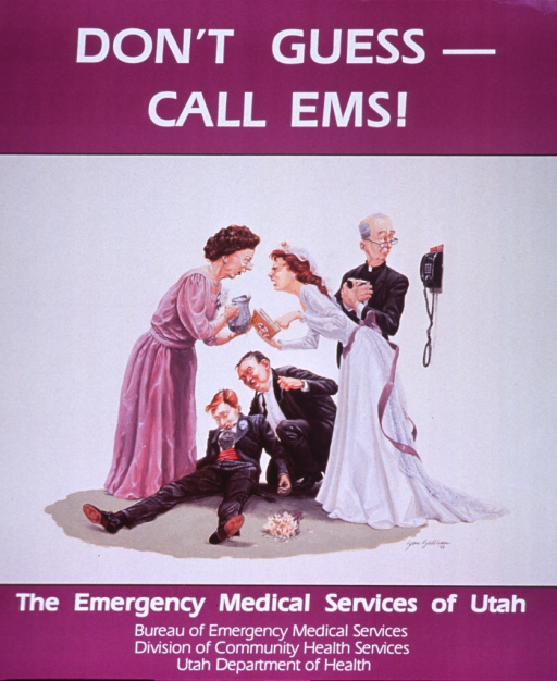 <p>Purple and white poster with white lettering.  Title at top of poster.  Visual image is a reproduction of a color painting of a wedding scene.  The groom has collapsed to the floor and a man supports his head and shoulders.  The bride holds a first aid book, another woman holds a pitcher of water, and the two women appear to argue over the best course of action.  The minister looks away from the group to a phone with a 911 label.  Publisher information at bottom of poster.</p>