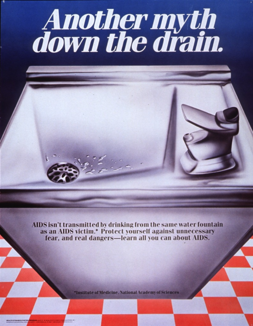 <p>Multicolor poster with white and black lettering.  Title at top of poster.  Visual image is an illustration of a water fountain with several drops of water clustered around the drain.  Caption superimposed on front of fountain.  Institute of Medicine, National Academy of Sciences also on front of fountain, toward the bottom, as a reference for caption fact.  Publisher information in lower left corner.</p>
