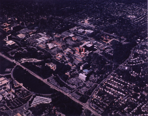 <p>Aerial view showing the campus, the Naval Medical Center, and much of the surrounding community.</p>