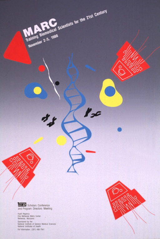 <p>Two-tone gray poster with red computer terminals, black x-chromosomes, yellow and turquoise cells, etc., scattered through the center of the poster.  The title and information regarding the conference are given above and below the scattered items.</p>
