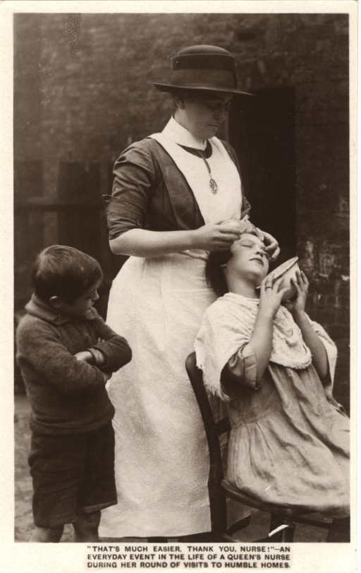 <p>Postcard featuring a black and white photograph of a nurse standing behind a young girl. The nurse is helping the girl flush out her eye. A young boy stands next to the nurse with his arms crossed in front of him. This postcard was distributed to raise money for the Queen Victoria's Jubilee Institute for Nurses.</p>
