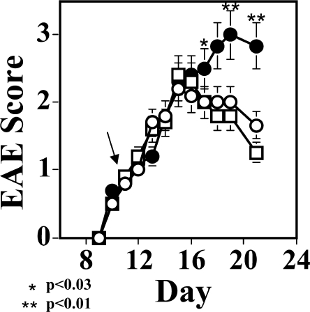 Neutralization of CXCL12 during ongoing EAE aggravates ongoing EAE. C57BL/6 female mice (n = 6 per group) were subjected to active induction of MOGp35-55-induced EAE, and at the onset of disease (day 10) were separated into three equally sick groups (n = 6 mice per group). On days 11, 13, 15, and 17 after the induction of disease, mice were injected i.v. either with PBS (open circles), 50 μg/mouse of anti-CXCL12 mAb (closed circles), or control antibody (open squares). An observer blind to the experimental protocol monitored the development and progression of disease. The results of one out of three independent experiments (n = 6 mice per each group) are shown as the mean maximal score ± SE. The arrow indicates the first day of anti-CXCL12 antibody administration.