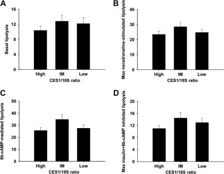 Relation between CES1 expression and lipolysis in isolated adipocytes. Basal lipolysis (A), maximal noradrenaline-stimulated lipolysis (B), 8b-cAMP-mediated lipolysis (C), and 8b-cAMP + insulin-inhibited lipolysis (D) in samples with high, intermediate, and low CES1 mRNA levels measured by real-time PCR.