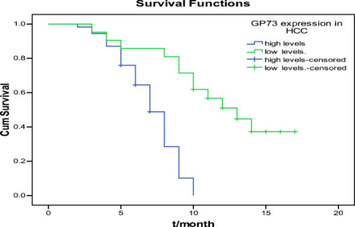 Survival curves of HCC patients with different levels of GP73 expression. The surival curves showed that HCC patients with high levels of GP73 expression were different from patients with low levels.