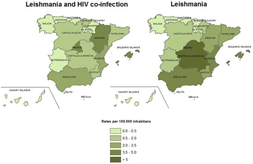 Median rates of hospitalizations with leishmaniasis as first diagnosis for HIV and non HIV leishmaniasis by autonomous community, Spain, 1997–2011.