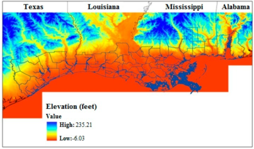 Relative elevation of Gulf Coast counties. Areas below 30 m elevation displayed in orange. Figure Source: Potter et al. [8].