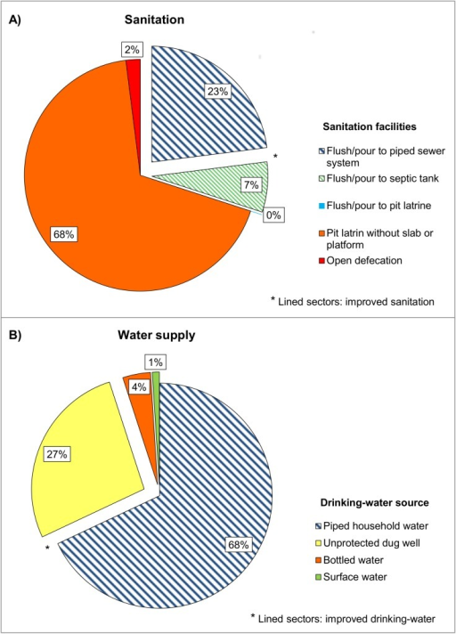 Distribution of sanitation facilities and water supply available in the study population (n = 771).A) Sanitation facilities. B) Water sources.