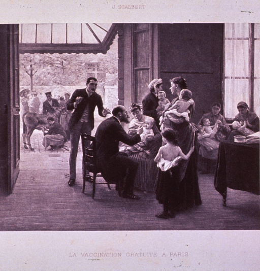 <p>A group of mothers, one breast feeding, are having their children (mostly infants) vaccinated; an assistant, holding inoculating instruments, stands next to the physician; through a doorway can be seen a cow with an attendant extracting the cowpox virus.</p>