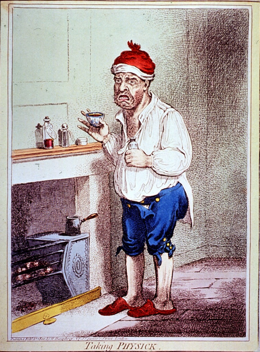 <p>A man is standing before a fireplace, he is holding in one hand a medicine bottle and in the other a glass; additional medicine bottles are on the mantel over the fireplace.</p>