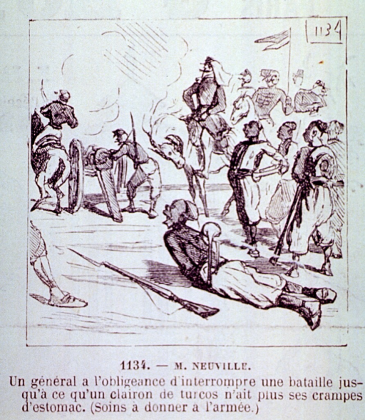<p>During a military operation, a soldier lies on the ground suffering from stomach cramps; his cries of complaint are so vociferous that the General, sitting on horseback, is obliged to interrupt the battle.</p>