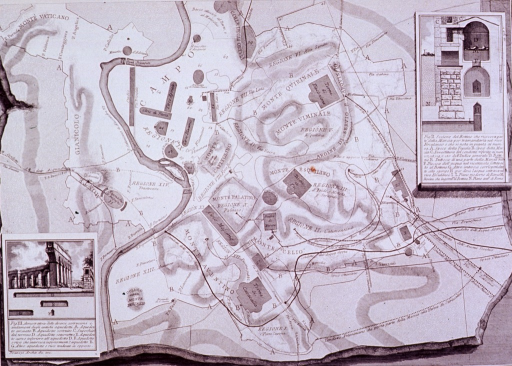 <p>Map of Rome showing the aqueducts, with detail of their structure.</p>