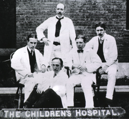 <p>Showing Jones with C.B. Wormelle, Percy Brown, Arthur T. Legg, and Nathaniel Allison as interns at The Children's Hospital, Boston.  All full length, full face, either standing or sitting; wearing white coats.</p>