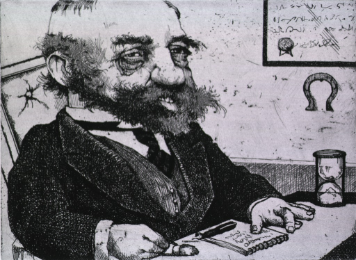 <p>A bearded man, with his hands resting on the desk, is holding a rabbits foot with his right hand and his fingers on the left hand are crossed.  On the desk is an hour glass, a spiral pad, and a pen.  Under what may be a diploma hangs an horse shoe.</p>