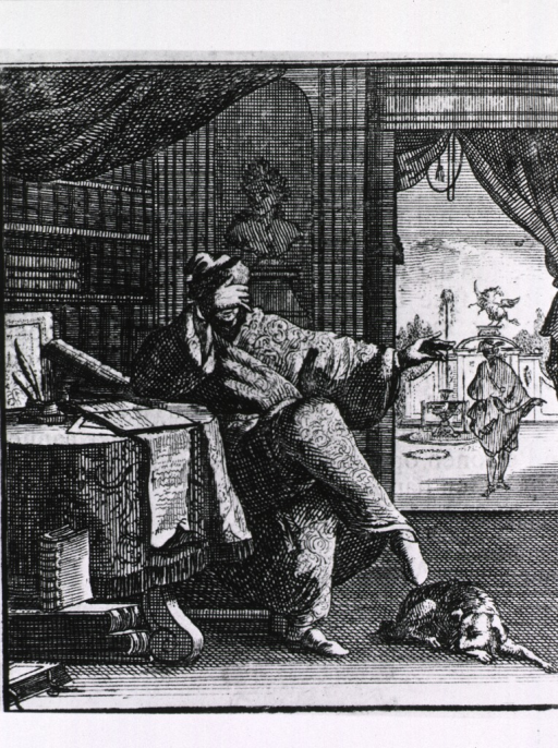 <p>Interior view: a man is sitting at a table in a library; he is leaning on his right elbow with his hand is covering his face; a dog is lying on the floor at his feet; a window opens onto courtyard with fountains and statuary.</p>