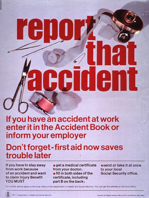 <p>Gray poster with red and black lettering.  Title near top of poster.  Title intertwined with visual image, a reproduction of a color photo of first aid gear.  Gear includes a flask, a roll of gauze, a safety pin, a thermometer, tweezers, scissors, tape, and a cotton ball.  Caption below image.  Text below caption explains the process for making a disability claim.  Publisher information at bottom of poster.</p>