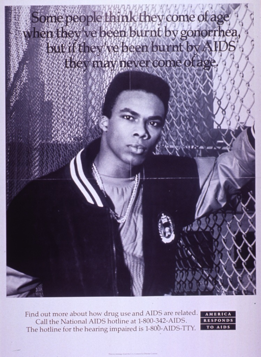 <p>Black and white poster.  Title at top of poster.  Visual image is a b&amp;w photo reproduction featuring a young man standing near a fence.  He wears a varsity-style jacket.  Caption below photo.  Note in lower right corner.  Publisher information at bottom of poster.</p>