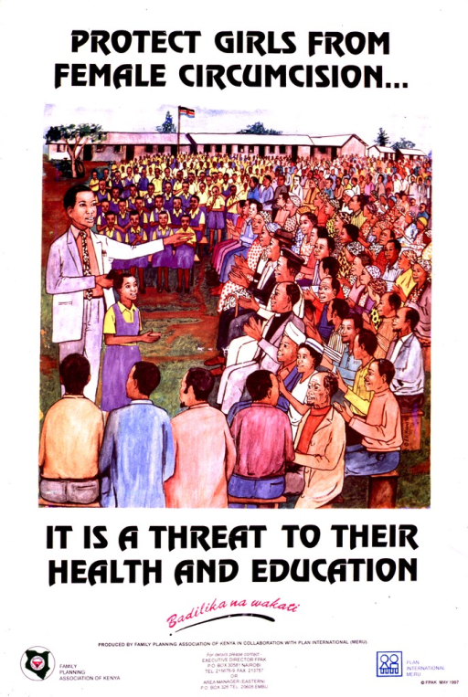 <p>Multicolor poster with black and fuchsia lettering.  Initial title phrase at top of poster.  Visual image is an illustration of a schoolgirl and a man in a suit (the principal?) addressing a crowd of people.  There are many students in the crowd and a building is visible in the background.  Remaining title phrase below illustration.  Note in Swahili below title text may suggest time or chance to change.  Publisher and sponsor information at bottom of poster.</p>