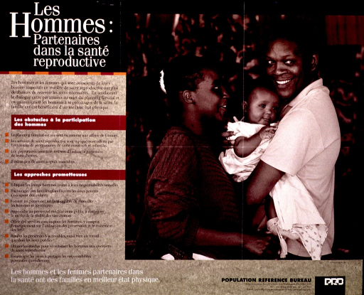 <p>Green and black poster with white and black lettering.  Title in upper left corner.  Left side of poster features text describing barriers to men participating in family planning and some promising approaches for engaging men.  Note at bottom of left side.  Right side of poster features a b&amp;w photo reproduction showing a three-member family.  Publisher information in lower right  corner.</p>