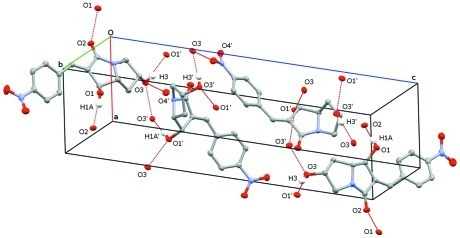 A view of the hydrogen bonding interactions (dotted lines) in the crystal structure of the title compound. H atoms non-participating in hydrogen-bonding were omitted for clarity.