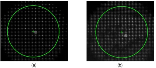 The raw image of the SH spots encircled with a pupil of radius 3 mm. The diameter of each lenslet is 400 microns in the SH detector. We expect a 15x15 array of the spot images inside the pupil. The ' + ' sign indicates the pupil center, which does not necessarily coincide with a spot in a lenslet. The intensity of the raw images was boosted for the display purpose. (a) the baseline data when the tear film forms a smooth surface (soon after ablink), (b) the SH image after the tear break-up (following blink-suppression).