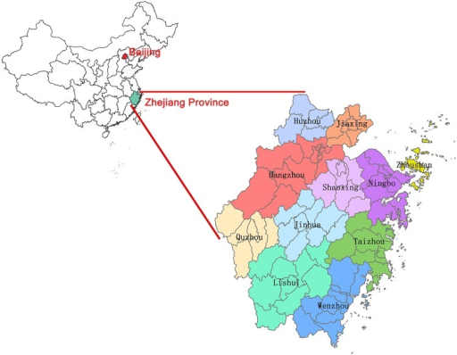 The map of Zhejiang Province.