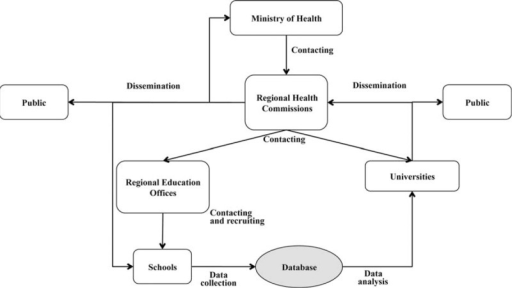 Flow chart of the possible interrelations between the Institutions involved in the surveillance system proposed by the Adolescents and Surveillance System for the Obesity prevention Project (ASSO).