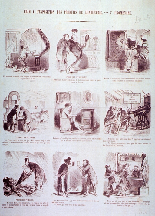 <p>Caricatures in nine vignettes of new products introduced at an exposition.</p>