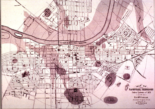 <p>Map of the cholera epidemic in Nashville, Tenn., in 1873.</p>