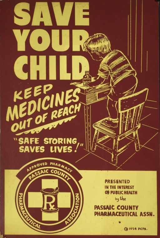 <p>Brown and yellow poster.  Title on right side of poster, beginning at top.  Visual image is a line drawing of a young boy climbing on a chair to reach a bottle of aspirin.  Note below title.  Publisher logo and information at bottom of poster.  A support is attached to the verso, making the poster suitable for a countertop display.  A photocopy of a news article from the Paterson Evening News is also attached to the verso.  The article discusses the awareness campaign for which the poster was designed.</p>
