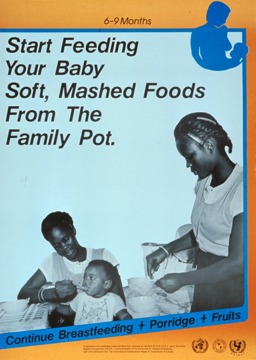 <p>Blue and orange poster with black lettering.  Title at top of poster along with a silhouette of a mother preparing to breastfeed her baby.  Dominant visual image is a b&amp;w photo reproduction featuring two women and a baby.  One woman stands and pushes food through a strainer.  The other woman sits and spoon-feeds the infant.  Caption below photo.  Publisher and sponsor information at bottom of poster.</p>