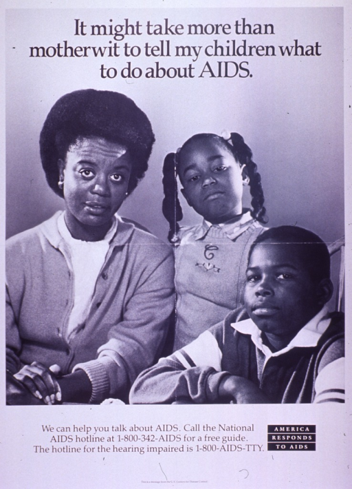<p>Black and white poster.  Title at top of poster.  Visual image is a b&amp;w photo reproduction featuring a woman and two school-age children.  Caption below photo.  Note in lower right corner.  Publisher information at bottom of poster.</p>