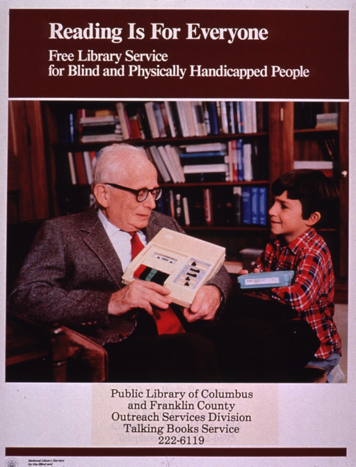 <p>Multicolor poster with white and black lettering.  Title and note at top of poster.  Visual image is a color photo reproduction featuring an elderly man and a boy.  The man holds a large tape player and the boy holds a cassette container.  Several books are visible in the background.  Publisher and sponsor information at bottom of poster.</p>