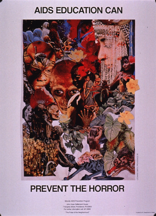 <p>White poster with black print and the visual occupying most of the poster. The visual is a collage of various images such as plants, animals, skeletons, natives, etc. Half of the title is above the visual and the remainder, along with the publishing information, is at the bottom of the poster.</p>