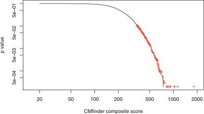 The Empirical p-Value Distribution Based on the Permutation TestThe black curve shows the complementary cumulative distribution function for the composite scores on randomized datasets (i.e., for each score, the fraction of permuted alignments exceeding that score). The red pluses show the p-values for the composite scores of the motifs in the original (unpermuted) datasets. All p-values are greater than or equal to 2 × 10−4 as there are only 5,000 samples in the background distribution.