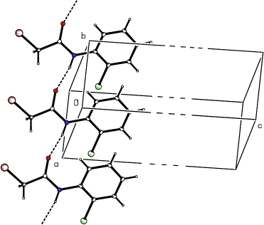 "Molecular packing of (I) showing chains, with hydrogen bonds shown as dashed lines. The unit cell is shown as ""broken"" along the c direction, for completeness."