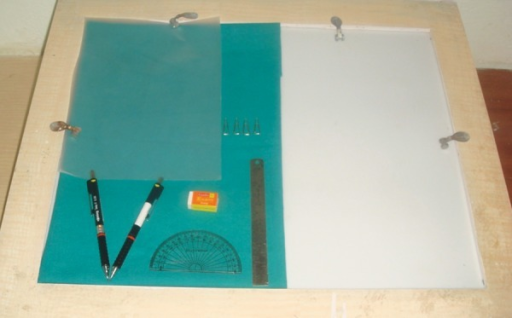 Equipments used for tracing: Lead acetate tracing paper, paper clips, metal scale, erazer, protractor, pencil