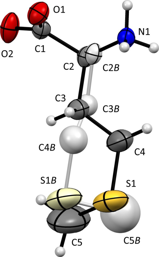 The mol­ecular structure of (I), with 50% probability displacement ellipsoids and atomic numbering indicated. The l-enanti­omer was used as the asymmetric unit, d-enanti­omers being generated by symmetry. The minor side-chain orientation [occupancy 0.0491 (18)], with N1—C2B—C3B—C4B in a gauche+ rather than a gauche− orientation (Table 1 ▶), is shown in a lighter colour.