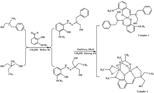 Syntheses of Schiff base ligands and complexes.