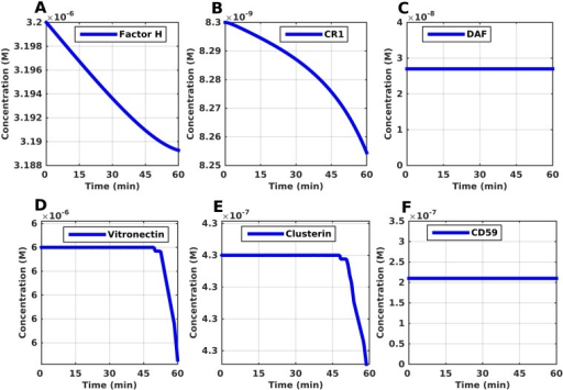 Time profiles for complement regulators Factor H, CR1, DAF, vitronectin, clusterin, and CD59.(A, B) The concentrations of Factor H and CR1 decrease, with Factor H showing initially a linear like response. The initial response of Factor H signifies the regulation taking root at the start of the AP by inhibiting C3(H2O) and C3(H2O)Bb. (C) The concentration of DAF remains constant and does not change, which highlights the rapid deactivation of any C3b by FH and CR1. (D,E) Vitronectin and clusterin experience a long delay of 52 and 51 minutes respectively before their concentration starts decreasing. Their regulatory component takes root at the formation of fluid C5b-7, which comes at a later stage of complement activation. (F) The response generated for CD59 is the same as that of DAF (no change in concentration). This is expected since DAF remains the same (inhibition of C3 convertase formation), the terminal cascade for MAC pore formation will not take root because formation C5 convertases will also be inhibited.