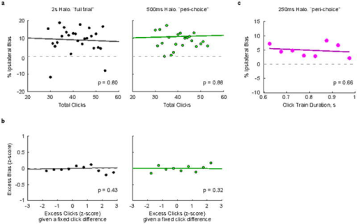 FOF inactivation induced response bias does not correlate with click count or click train durationThis figure shows further analysis of the data from Fig. 4 of the main text. a–b, During both the full-trial and 500 ms peri-choice inactivation sessions 50% of the trials had the click train duration fixed at 1 second (half inactivation half control trials). The remaining 50% were non-inactivation control trials with stimulus durations that varied randomly (not included in this analysis). All trial types were randomly interleaved. The Poisson nature of the click stimuli means that the number of clicks varied from trial to trial even for trials with the same duration and net click difference. a, We first asked whether the magnitude of the ipsilateral bias was correlated with the number of clicks for these fixed duration trials, and found that it was not (p=0.80 and p=0.88, for full trial and 500 ms peri-choice inactivations, respectively). b, In a separate analysis we asked if given a fixed click difference, if more clicks leads to an excess bias. We first separated trials into groups with equivalent click differences (ipsi count - contra count). Each trial's actual click count was then subtracted by its group mean and normalized by its group standard deviation. This gives the z-score of the excess clicks on each trial given that trial's click difference. We repeated this z-score normalization for the response bias on each trial (1 for respond ipsi, 0 for respond contra, bias = response on an inactivation trial - mean response on equivalent non-inactivation control trials). This gives a plot of the excess bias as a function of excess clicks. We found no significant correlation (p = 0.43 and p = 0.32 for full trial and 500 ms peri-choice inactivations, respectively). c, In the 250-ms inactivation experiment, click train durations varied both for control and inactivation trials. Here we asked whether the induced bias was correlated with the variable click train duration, and again found that it was not (p=0.66).
