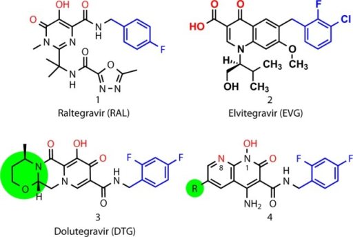 Structures of the FDA-approved INSTIs(RAL, 1; EVG, 2; and DTG, 3) and heterobicyclic compounds ofthe current series (4). Colors highlight key functionalfeatures: metal-chelating triad of heteroatoms (red), halobenzyl rings(blue). The terminal ring of DTG and the corresponding 6-substituentsdescribed in the present work shown in green shading.